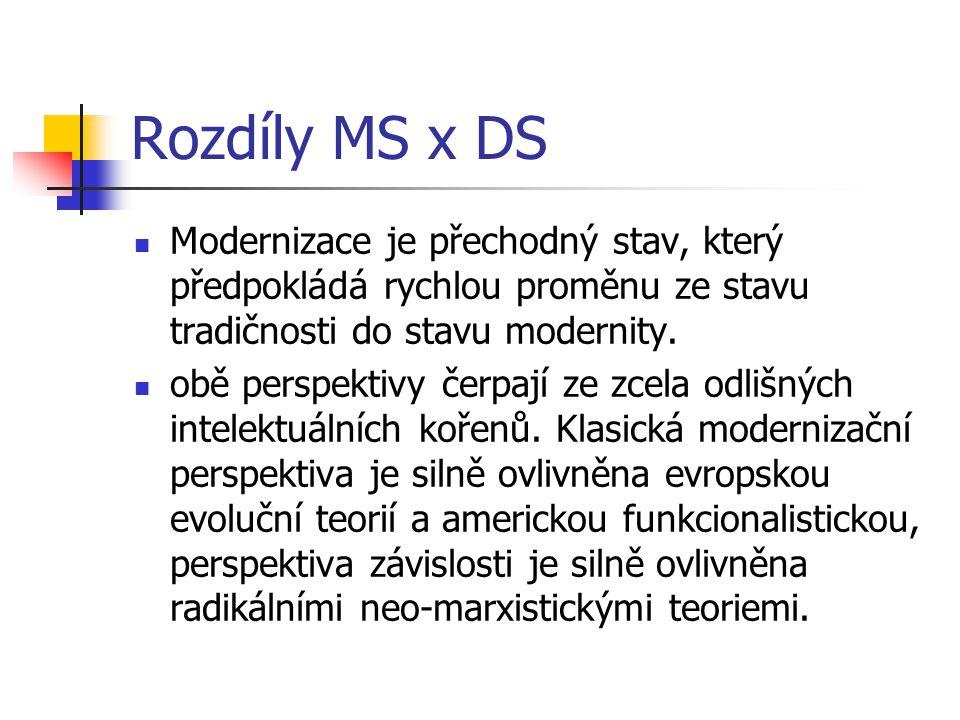 Rozdíly MS x DS Modernizace je přechodný stav, který předpokládá rychlou proměnu ze stavu tradičnosti do stavu modernity.