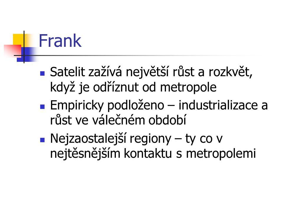Frank Satelit zažívá největší růst a rozkvět, když je odříznut od metropole Empiricky podloženo – industrializace a růst ve válečném období Nejzaostalejší regiony – ty co v nejtěsnějším kontaktu s metropolemi