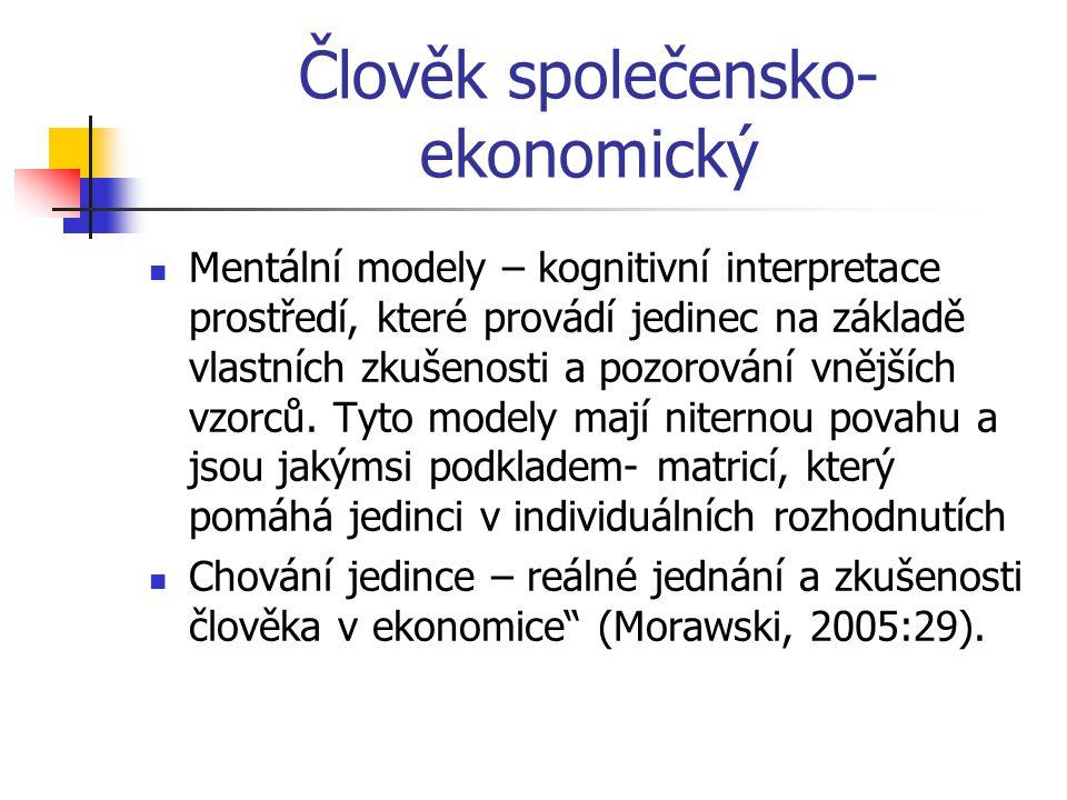 Člověk společensko- ekonomický Mentální modely – kognitivní interpretace prostředí, které provádí jedinec na základě vlastních zkušenosti a pozorování vnějších vzorců.