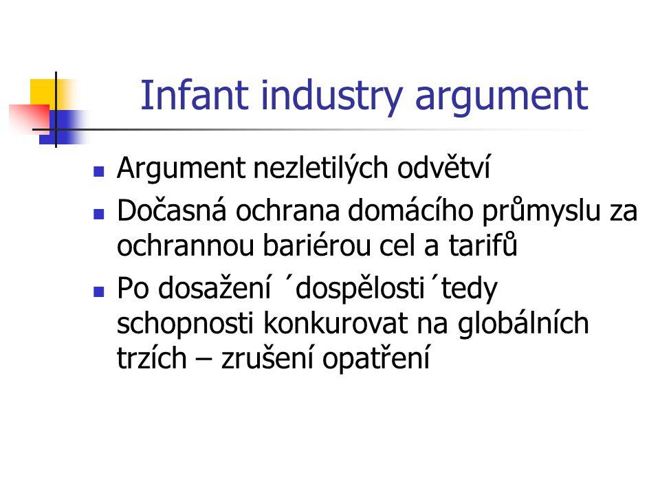 Infant industry argument Argument nezletilých odvětví Dočasná ochrana domácího průmyslu za ochrannou bariérou cel a tarifů Po dosažení ´dospělosti´tedy schopnosti konkurovat na globálních trzích – zrušení opatření