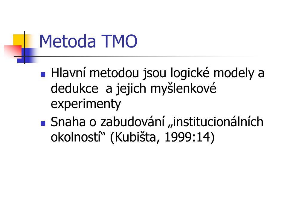 """Metoda TMO Hlavní metodou jsou logické modely a dedukce a jejich myšlenkové experimenty Snaha o zabudování """"institucionálních okolností (Kubišta, 1999:14)"""