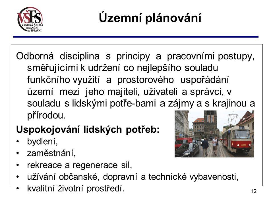 12 Odborná disciplina s principy a pracovními postupy, směřujícími k udržení co nejlepšího souladu funkčního využití a prostorového uspořádání území m