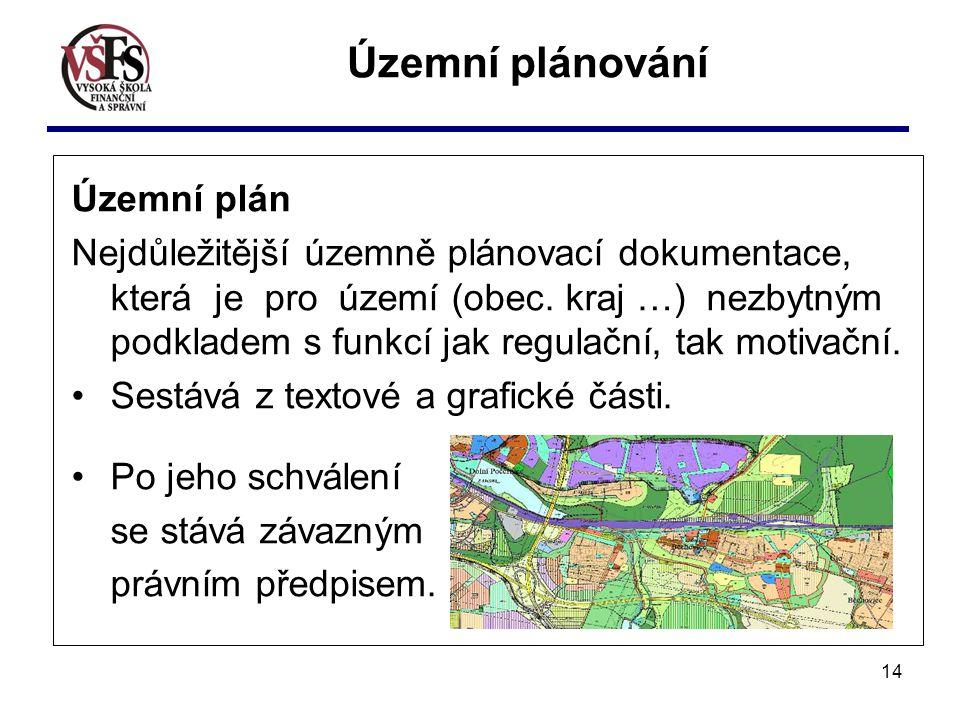 14 Územní plán Nejdůležitější územně plánovací dokumentace, která je pro území (obec. kraj …) nezbytným podkladem s funkcí jak regulační, tak motivačn