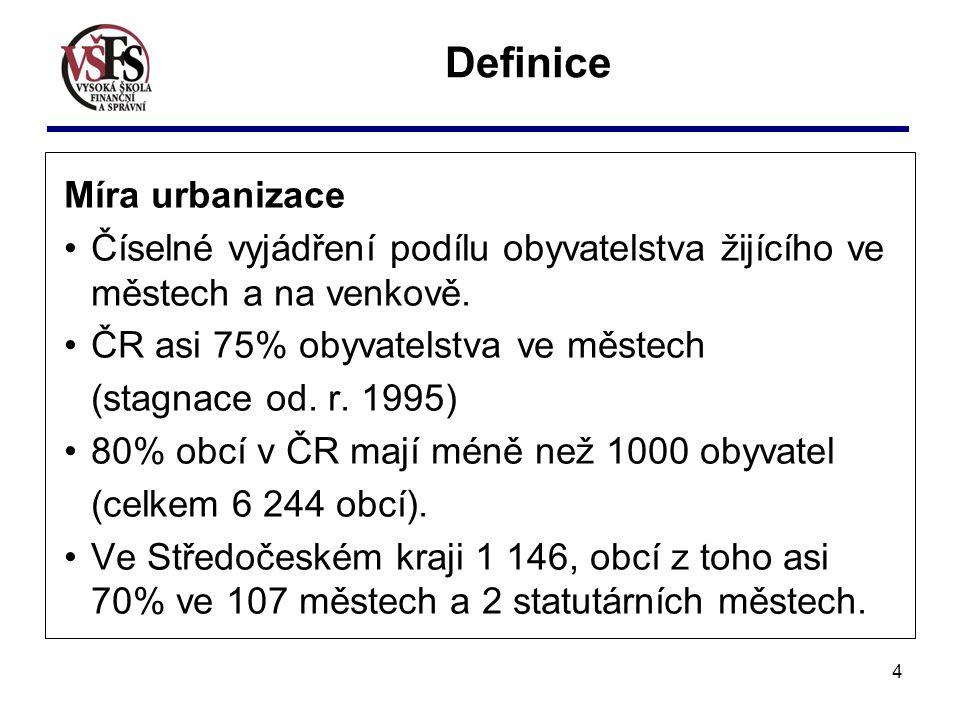 4 Míra urbanizace Číselné vyjádření podílu obyvatelstva žijícího ve městech a na venkově. ČR asi 75% obyvatelstva ve městech (stagnace od. r. 1995) 80