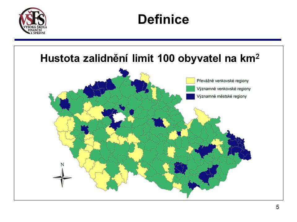 5 Hustota zalidnění limit 100 obyvatel na km 2 Definice