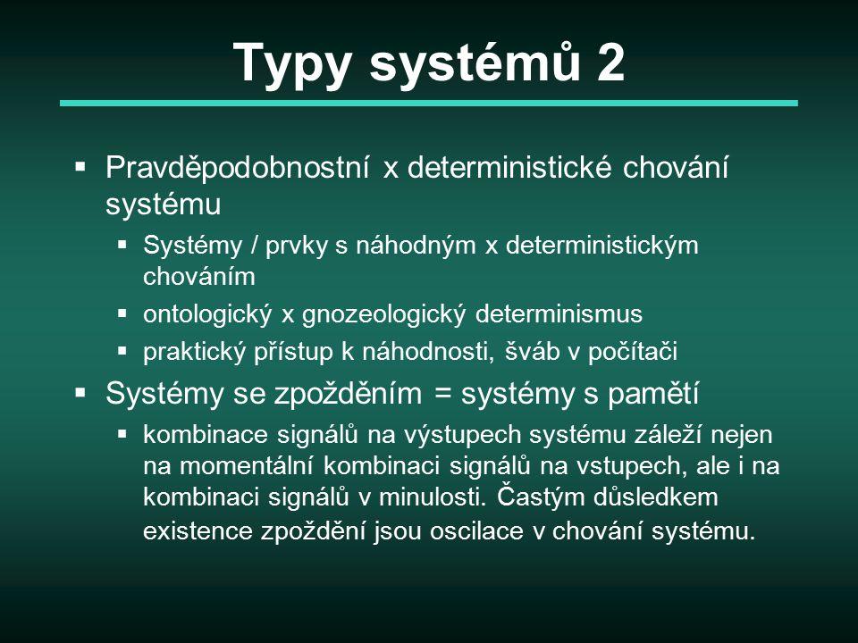 Typy systémů 2  Pravděpodobnostní x deterministické chování systému  Systémy / prvky s náhodným x deterministickým chováním  ontologický x gnozeolo
