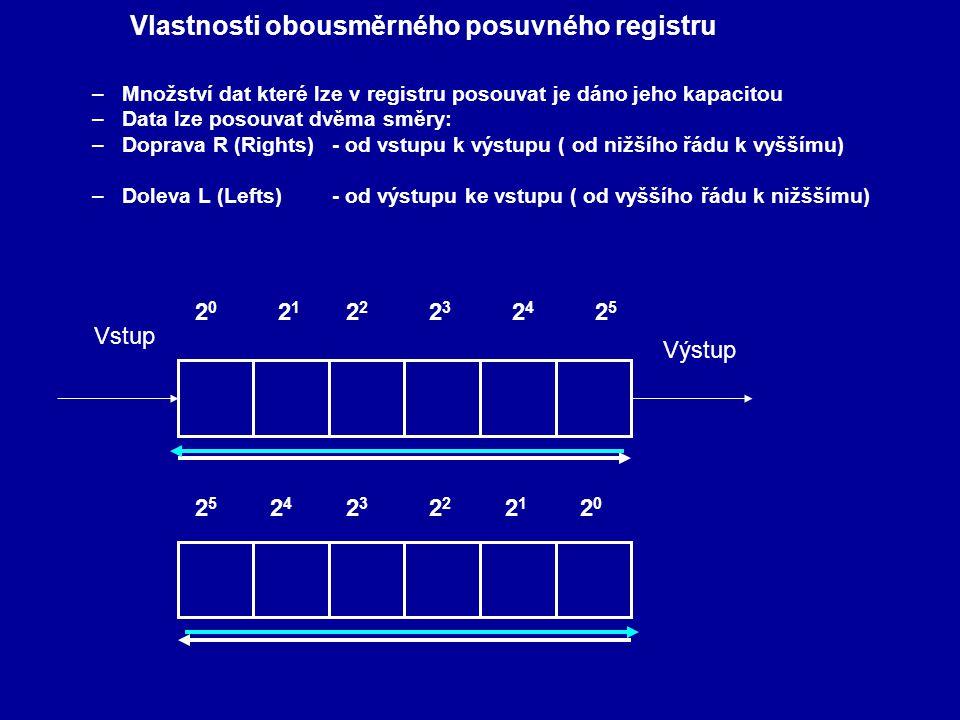 –Množství dat které lze v registru posouvat je dáno jeho kapacitou –Data lze posouvat dvěma směry: –Doprava R (Rights)- od vstupu k výstupu ( od nižší