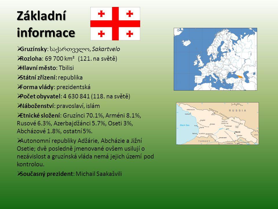 Základní informace  Gruzínsky: საქართველო, Sakartvelo  Rozloha: 69 700 km² (121. na světě)  Hlavní město: Tbilisi  Státní zřízení: republika  For