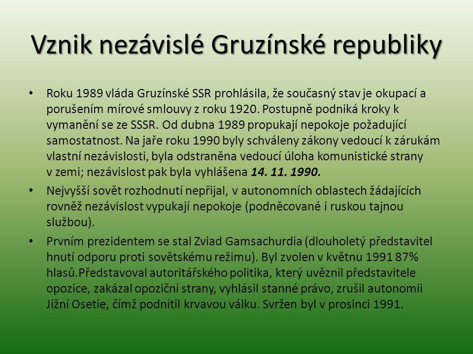 Vznik nezávislé Gruzínské republiky Roku 1989 vláda Gruzínské SSR prohlásila, že současný stav je okupací a porušením mírové smlouvy z roku 1920. Post