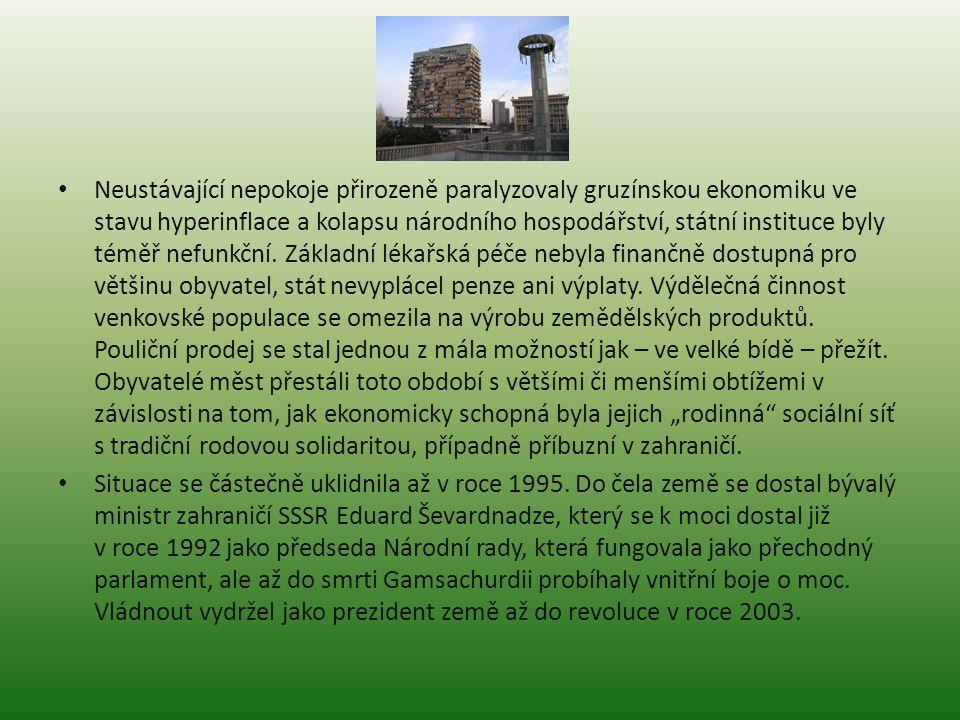 Neustávající nepokoje přirozeně paralyzovaly gruzínskou ekonomiku ve stavu hyperinflace a kolapsu národního hospodářství, státní instituce byly téměř