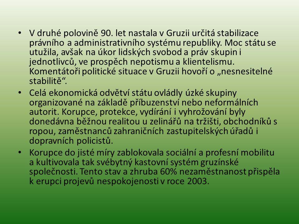V druhé polovině 90. let nastala v Gruzii určitá stabilizace právního a administrativního systému republiky. Moc státu se utužila, avšak na úkor lidsk