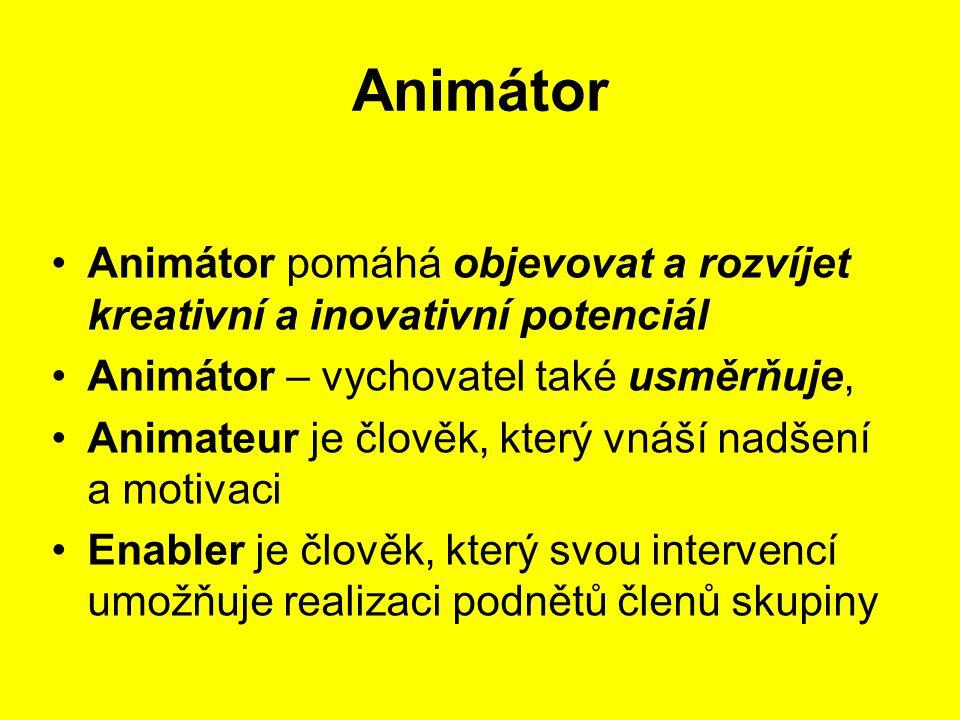 Animátor Animátor pomáhá objevovat a rozvíjet kreativní a inovativní potenciál Animátor – vychovatel také usměrňuje, Animateur je člověk, který vnáší
