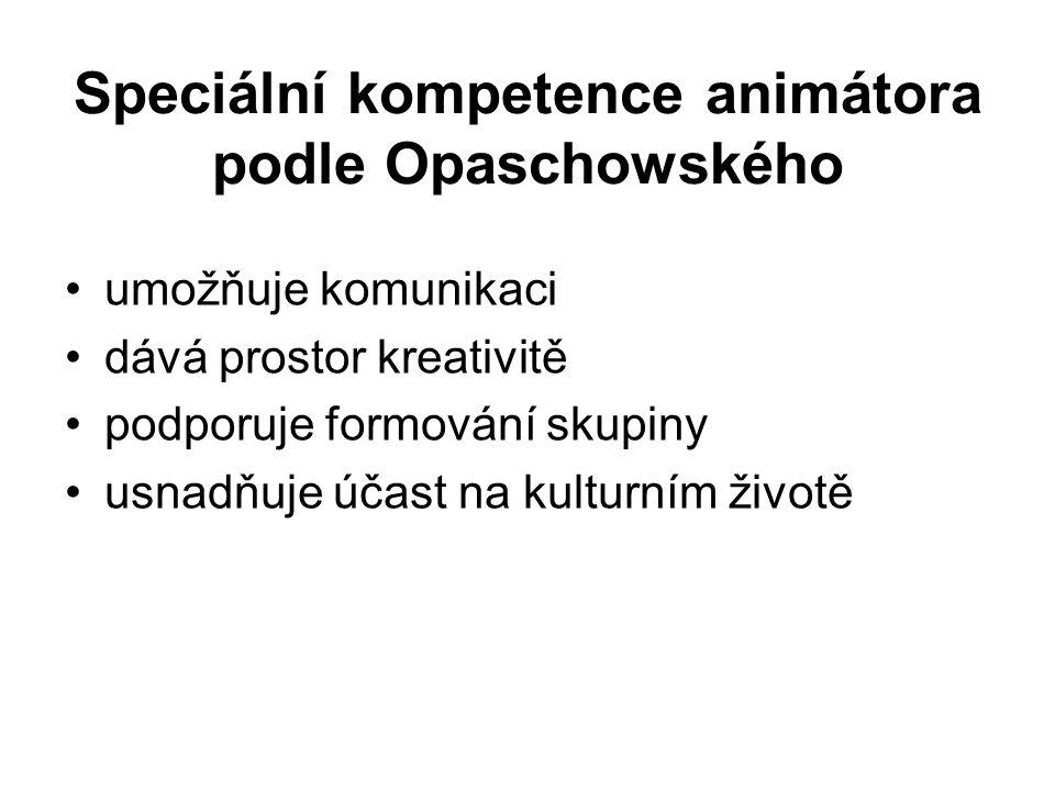 Speciální kompetence animátora podle Opaschowského umožňuje komunikaci dává prostor kreativitě podporuje formování skupiny usnadňuje účast na kulturní
