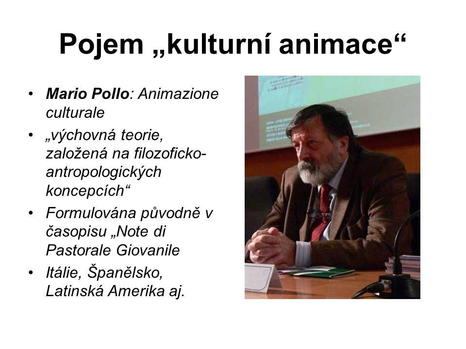 """Pojem """"kulturní animace"""" Mario Pollo: Animazione culturale """"výchovná teorie, založená na filozoficko- antropologických koncepcích"""" Formulována původně"""