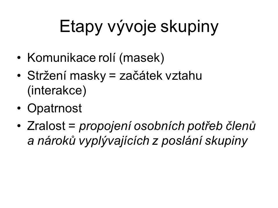 Etapy vývoje skupiny Komunikace rolí (masek) Stržení masky = začátek vztahu (interakce) Opatrnost Zralost = propojení osobních potřeb členů a nároků v