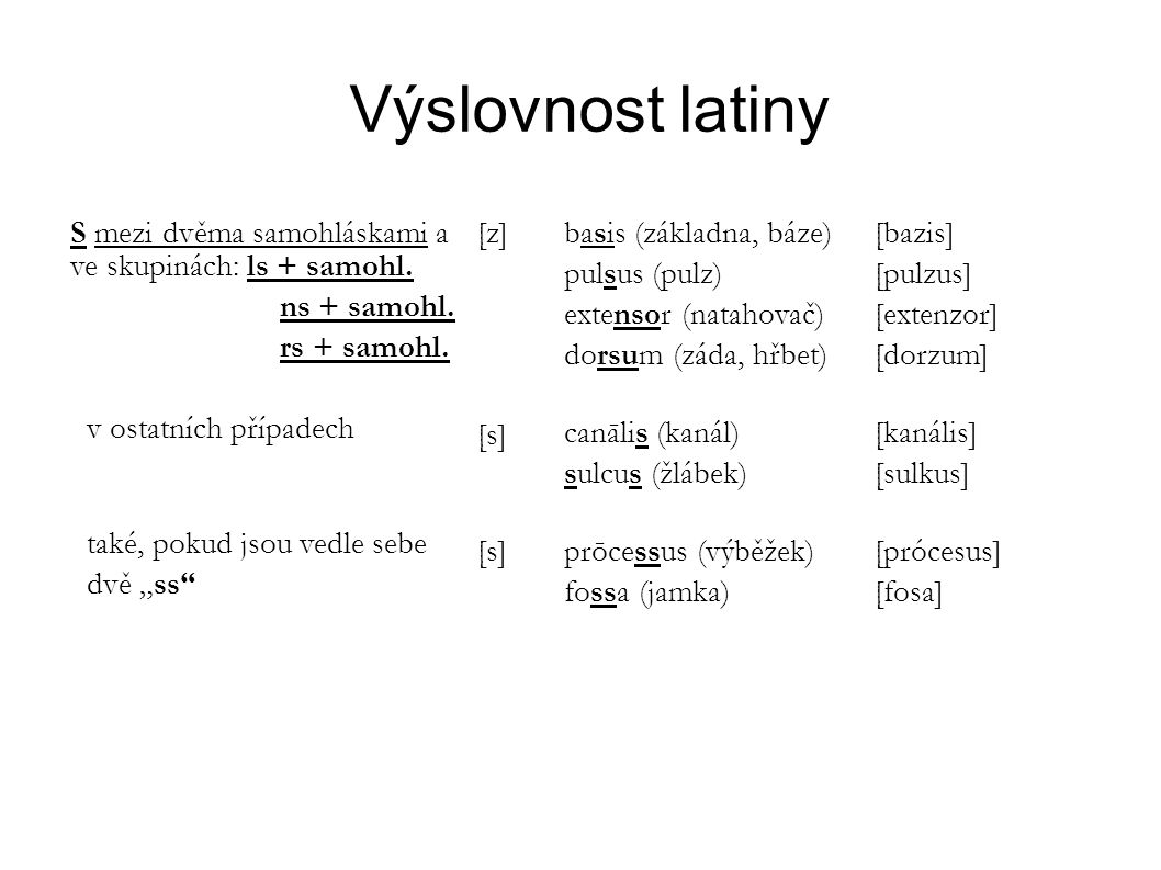 Výslovnost latiny S mezi dvěma samohláskami a ve skupinách: ls + samohl. ns + samohl. rs + samohl. v ostatních případech také, pokud jsou vedle sebe d