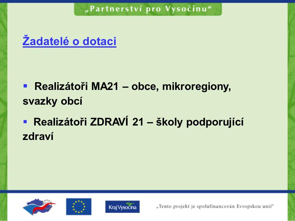 Žadatelé o dotaci  Realizátoři MA21 – obce, mikroregiony, svazky obcí  Realizátoři ZDRAVÍ 21 – školy podporující zdraví