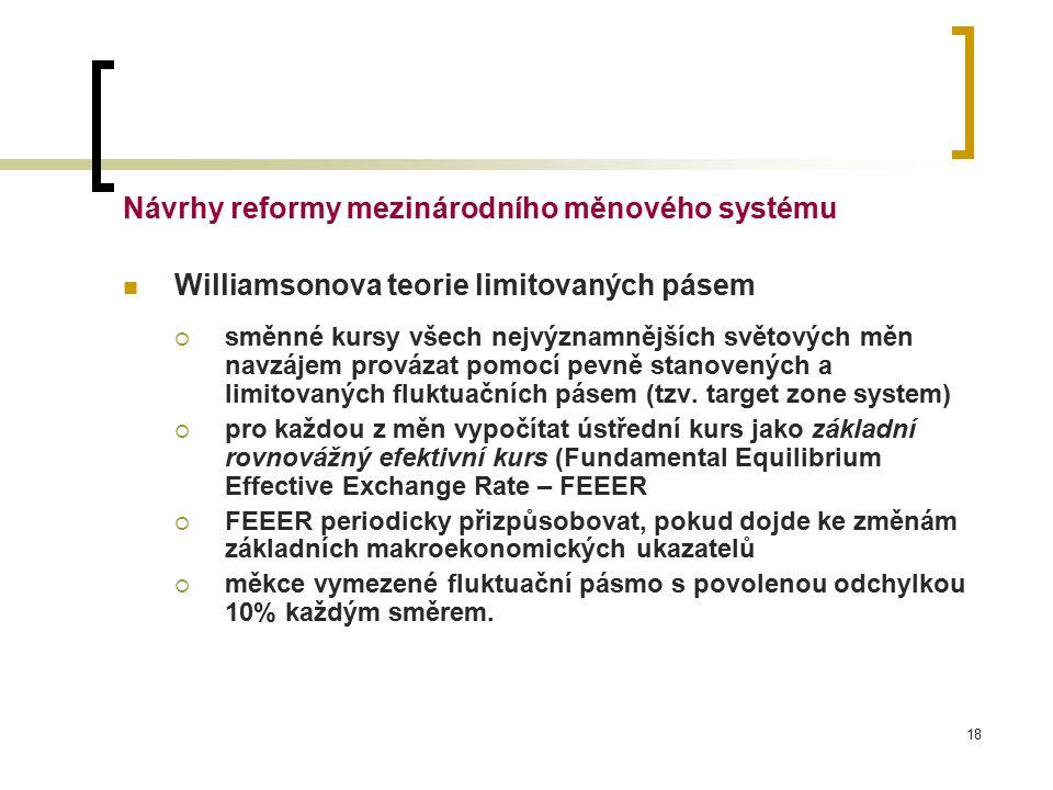 18 Návrhy reformy mezinárodního měnového systému Williamsonova teorie limitovaných pásem  směnné kursy všech nejvýznamnějších světových měn navzájem provázat pomocí pevně stanovených a limitovaných fluktuačních pásem (tzv.