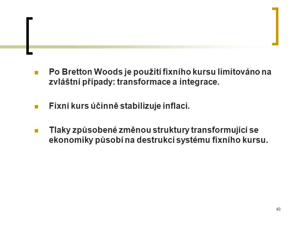 40 Po Bretton Woods je použití fixního kursu limitováno na zvláštní případy: transformace a integrace.