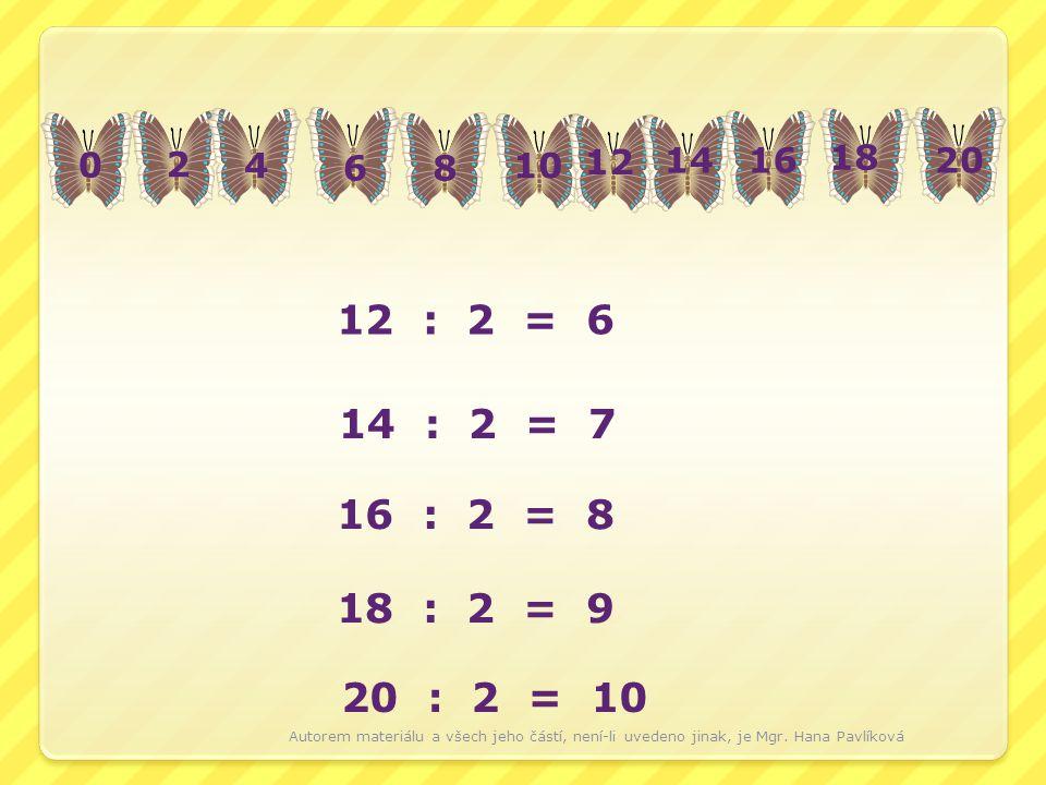 0 2 4 68 10 12 1416 18 20 12 : 2 = 6 14 : 2 = 7 16 : 2 = 8 18 : 2 = 9 20 : 2 = 10 Autorem materiálu a všech jeho částí, není-li uvedeno jinak, je Mgr.