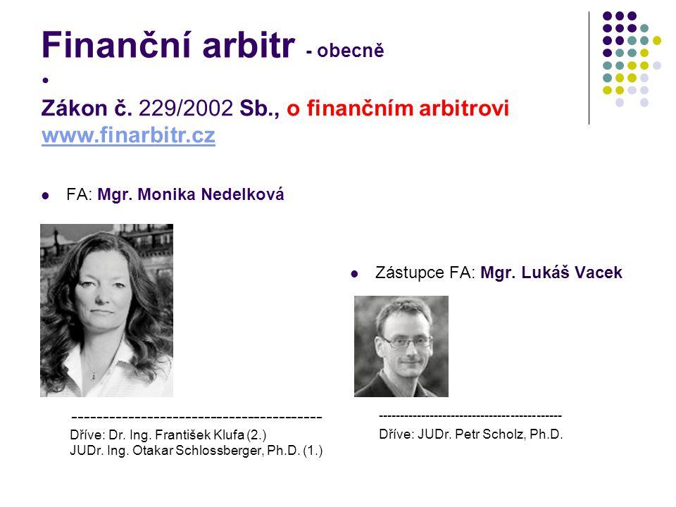 Finanční arbitr - obecně FA: Mgr. Monika Nedelková ---------------------------------------- Dříve: Dr. Ing. František Klufa (2.) JUDr. Ing. Otakar Sch