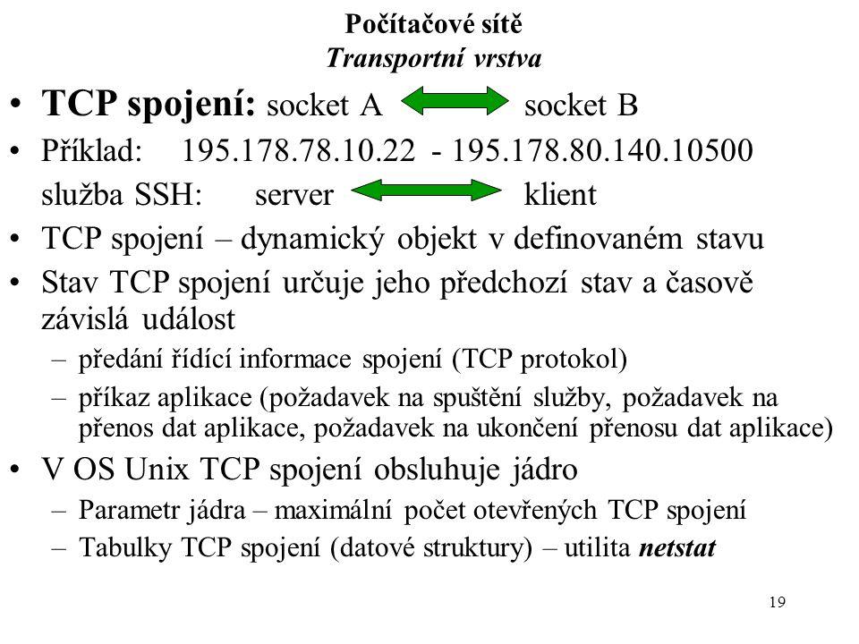 19 Počítačové sítě Transportní vrstva TCP spojení: socket Asocket B Příklad:195.178.78.10.22 - 195.178.80.140.10500 služba SSH: serverklient TCP spojení – dynamický objekt v definovaném stavu Stav TCP spojení určuje jeho předchozí stav a časově závislá událost –předání řídící informace spojení (TCP protokol) –příkaz aplikace (požadavek na spuštění služby, požadavek na přenos dat aplikace, požadavek na ukončení přenosu dat aplikace) V OS Unix TCP spojení obsluhuje jádro –Parametr jádra – maximální počet otevřených TCP spojení –Tabulky TCP spojení (datové struktury) – utilita netstat