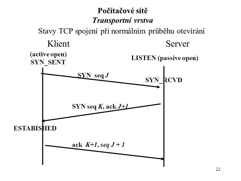 22 Počítačové sítě Transportní vrstva Stavy TCP spojení při normálním průběhu otevírání Klient Server LISTEN (passive open) (active open) SYN_SENT ESTABISHED SYN seq J SYN seq K, ack J+1 ack K+1, seq J + 1 SYN_RCVD