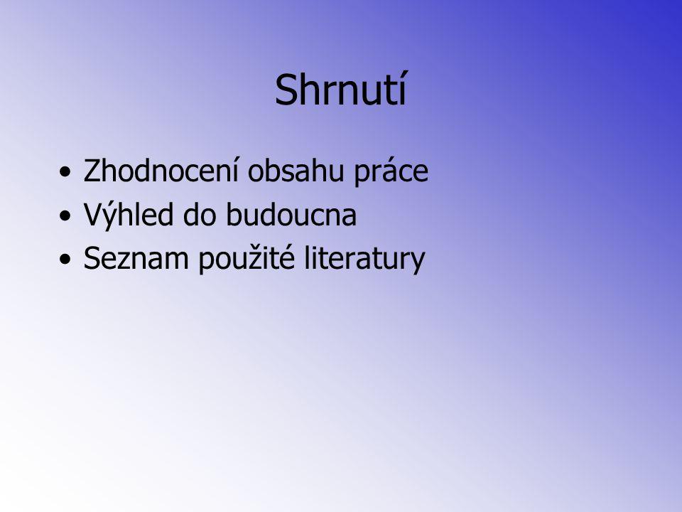 Shrnutí Zhodnocení obsahu práce Výhled do budoucna Seznam použité literatury