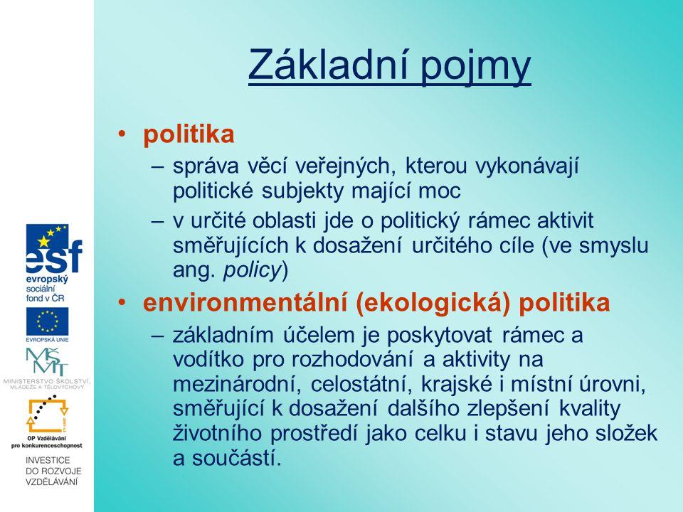 Základní pojmy politika –správa věcí veřejných, kterou vykonávají politické subjekty mající moc –v určité oblasti jde o politický rámec aktivit směřujících k dosažení určitého cíle (ve smyslu ang.
