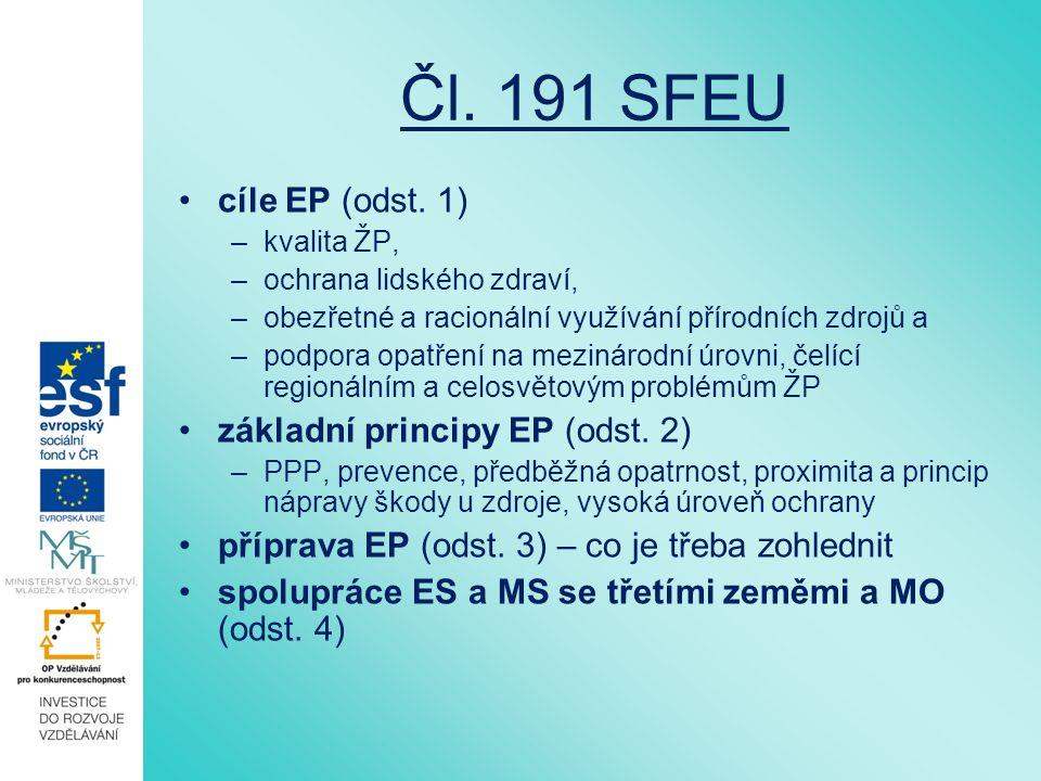Čl. 191 SFEU cíle EP (odst.