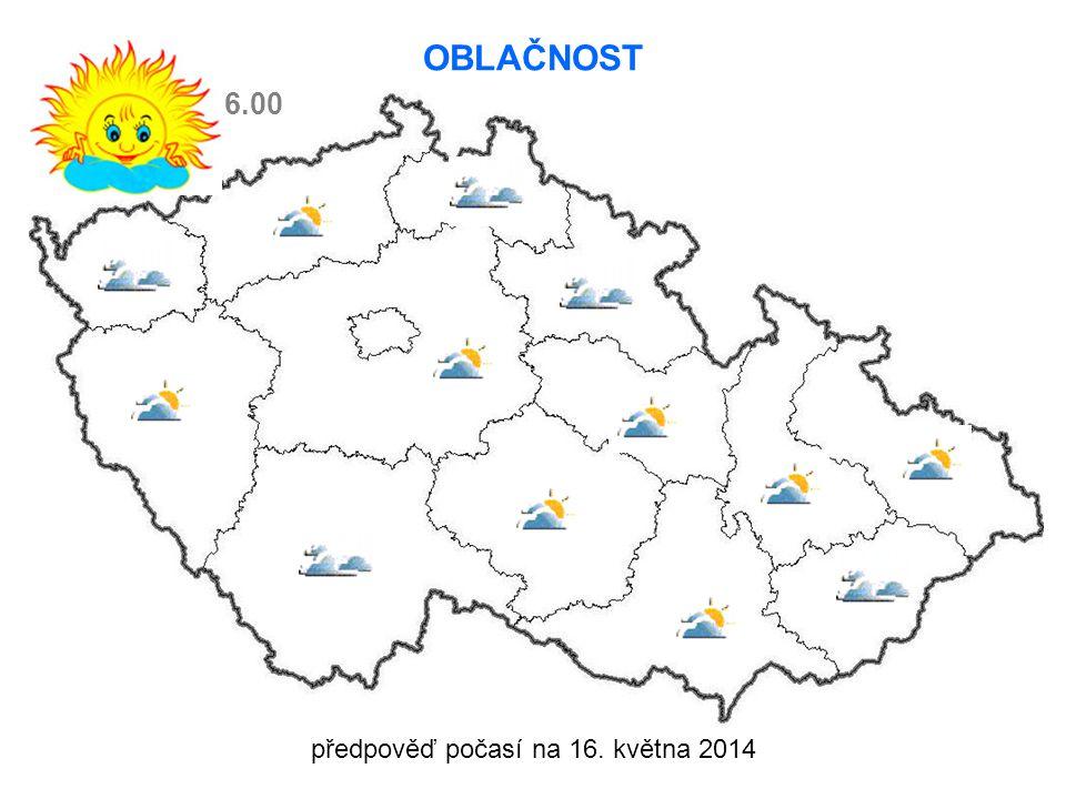 předpověď počasí na 16. května 2014 OBLAČNOST 6.00