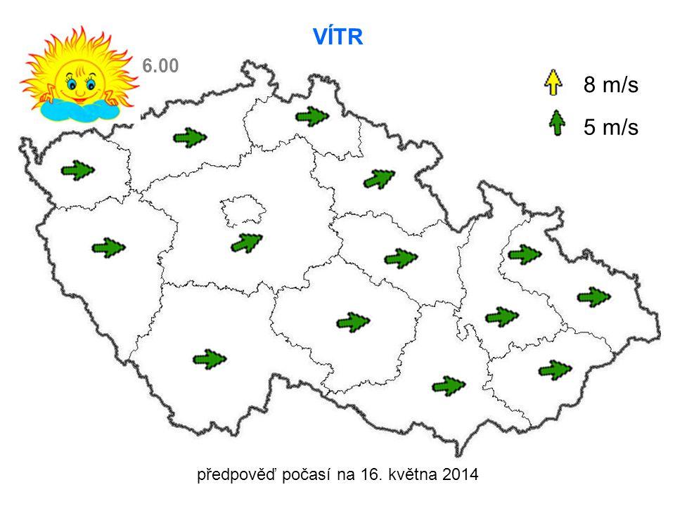 předpověď počasí na 16. května 2014 VÍTR 8 m/s 5 m/s 6.00