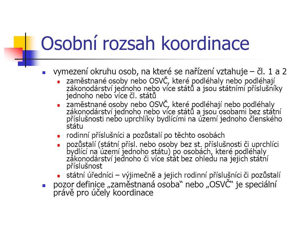 Osobní rozsah koordinace vymezení okruhu osob, na které se nařízení vztahuje – čl.