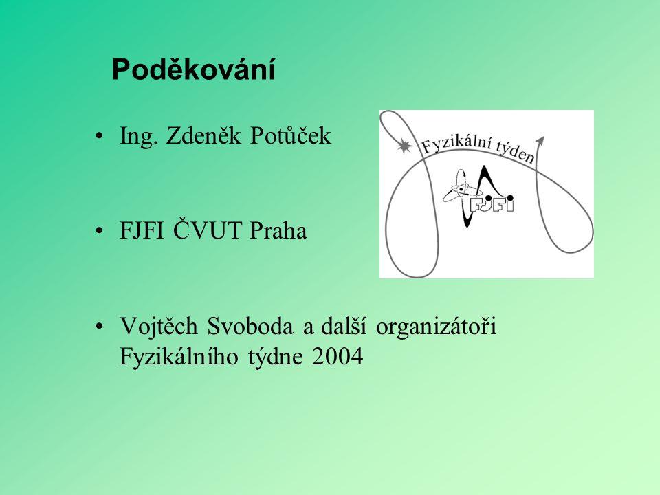Poděkování Ing. Zdeněk Potůček FJFI ČVUT Praha Vojtěch Svoboda a další organizátoři Fyzikálního týdne 2004