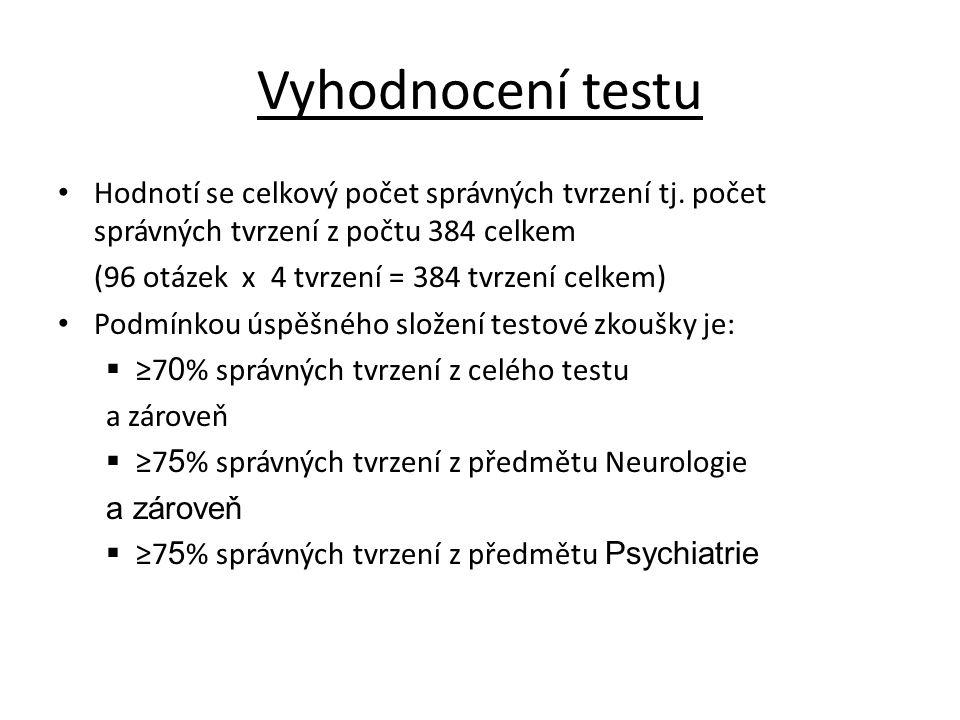 Vyhodnocení testu Hodnotí se celkový počet správných tvrzení tj.