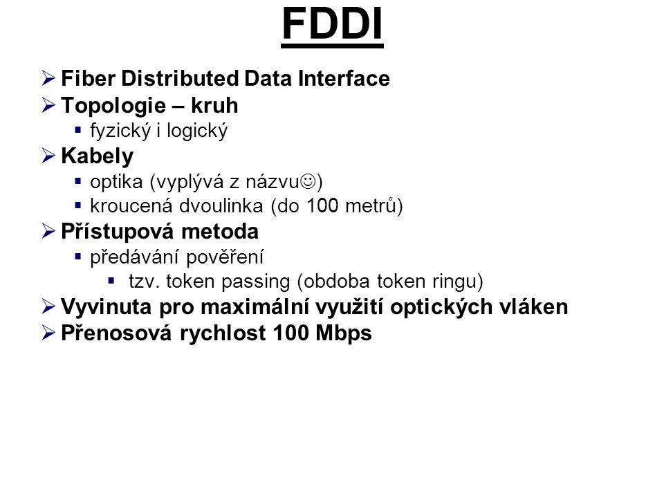 FDDI  Nevýhody  drahé pořizovací náklady i provoz  problémy s odpojováním a připojováním uzlů  řešeno pomocí rekonfigurace (dvojitý okruh)  Výhody  počítá s velkým dosahem  obvod kruhu až 200 km  mezi stanicemi až 2 km (u jednovidových až 60 km)  až 500 uzlů  každý uzel má funkci opakovače  má zabudovány mechanismy pro rekonfiguraci  kompenzuje jedno přerušení kruhu (výpadek jednoho uzlu)  propojení hlavního a záložního kruhu  použití tzv.