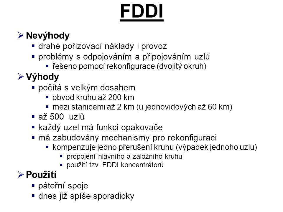 FDDI  Nevýhody  drahé pořizovací náklady i provoz  problémy s odpojováním a připojováním uzlů  řešeno pomocí rekonfigurace (dvojitý okruh)  Výhod
