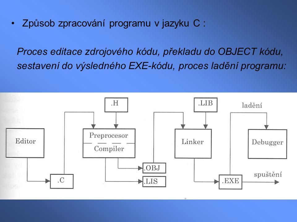 Textový editor (nízkoúrovňový) – pokud je C součástí integrovaného prostředí, pak zpravidla obsahuje i tento editor Preprocesor (součást kompilátoru) –Upravuje/opravuje zdrojový soubor Vynechává komentáře Vkládá hlavičkové soubory (.H) Zajišťuje makrosubstituce –Výsledkem jeho činnosti je opět textový soubor, který je předán ke zpracování přímo kompilátoru Kompilátor (překladač) –Transformuje (překládá) textově napsaný program do relativního kódu (tzv.Object-kód)