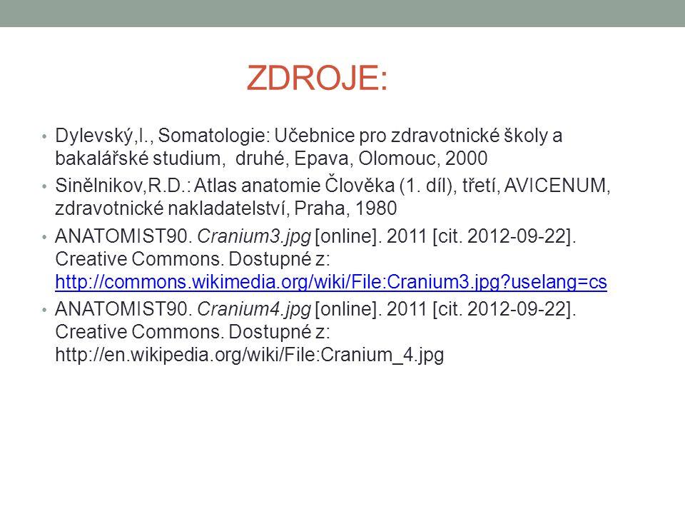 ZDROJE: Dylevský,I., Somatologie: Učebnice pro zdravotnické školy a bakalářské studium, druhé, Epava, Olomouc, 2000 Sinělnikov,R.D.: Atlas anatomie Čl