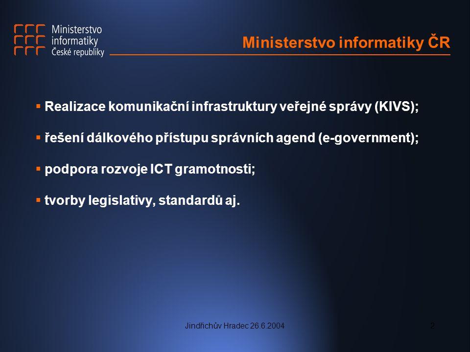Jindřichův Hradec 26.6.20043 Současné projekty  Portál veřejné správy  podpora vybavování knihoven ICT (MK);  Internet do škol
