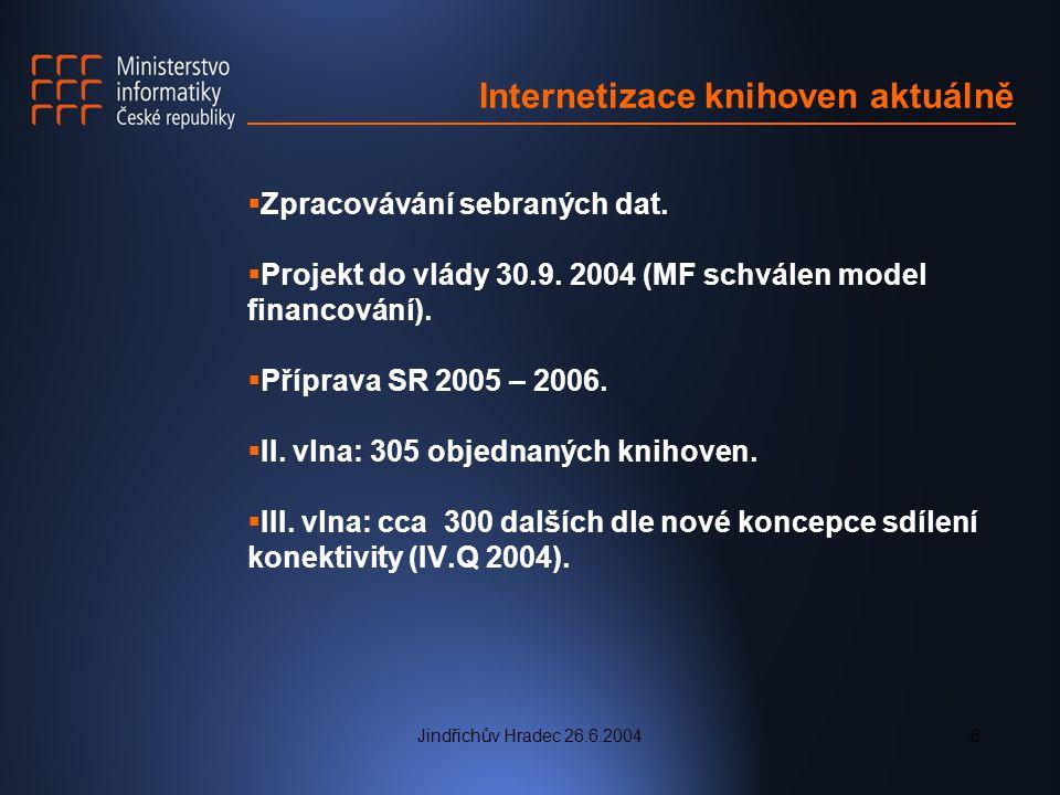 Jindřichův Hradec 26.6.20046 Internetizace knihoven aktuálně  Zpracovávání sebraných dat.