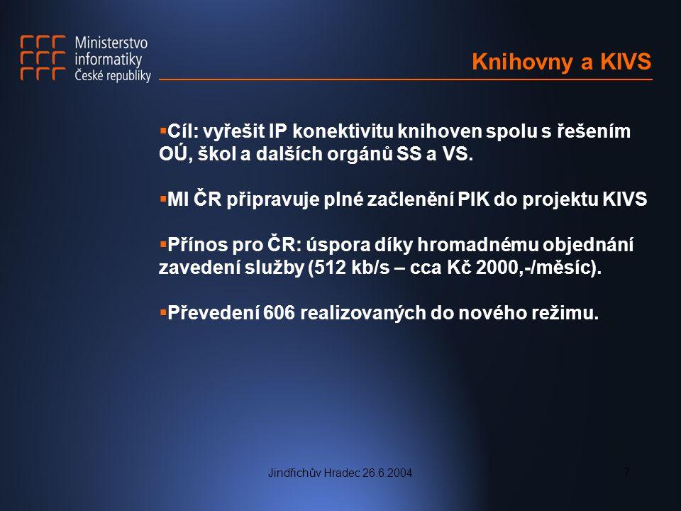 Jindřichův Hradec 26.6.20047 Knihovny a KIVS  Cíl: vyřešit IP konektivitu knihoven spolu s řešením OÚ, škol a dalších orgánů SS a VS.