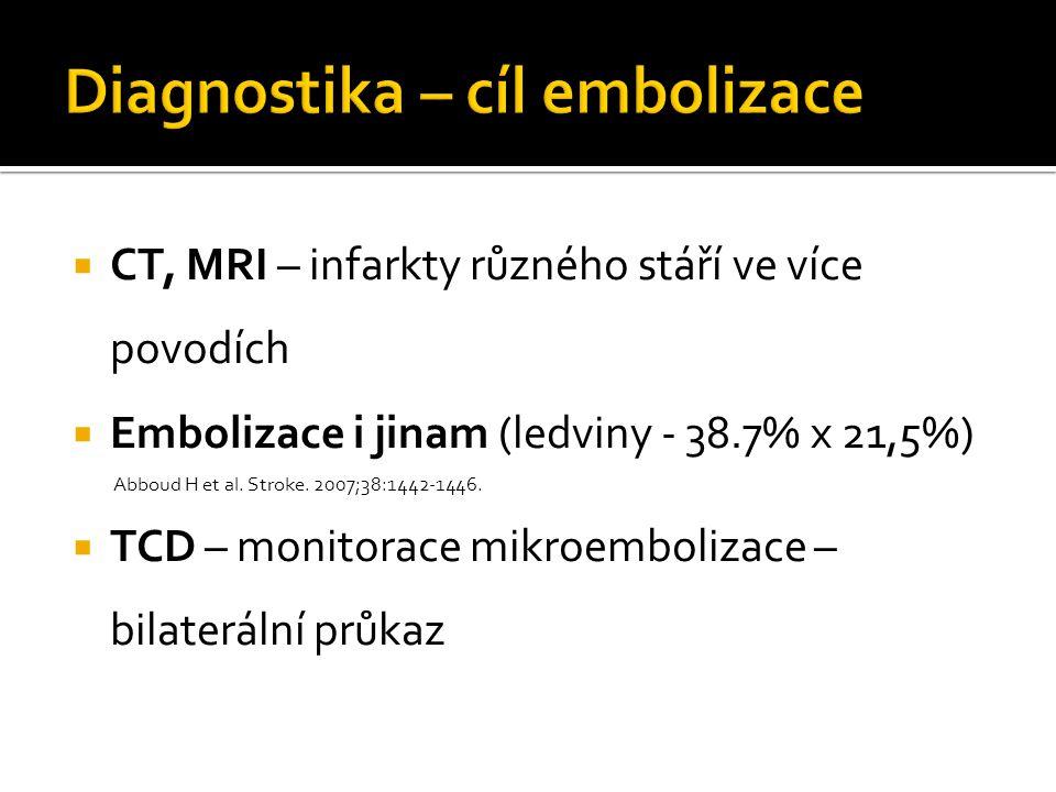 CT, MRI – infarkty různého stáří ve více povodích  Embolizace i jinam (ledviny - 38.7% x 21,5%) Abboud H et al. Stroke. 2007;38:1442-1446.  TCD –