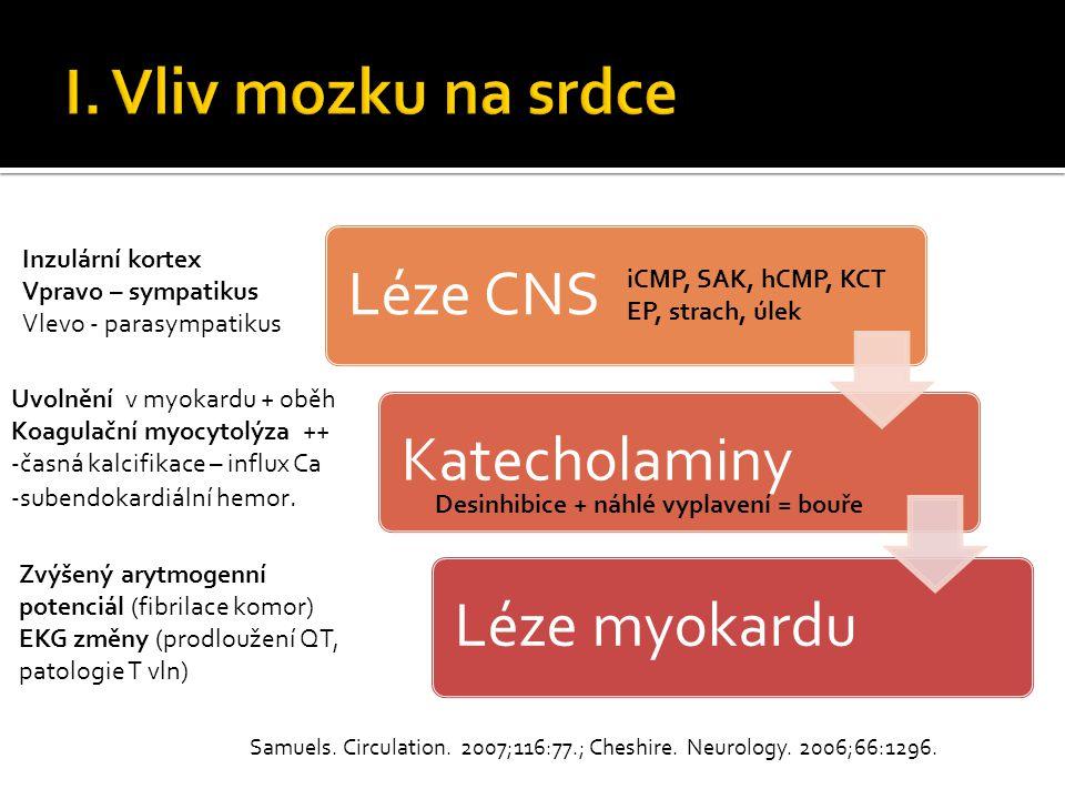 Léze CNSKatecholaminyLéze myokardu iCMP, SAK, hCMP, KCT EP, strach, úlek Inzulární kortex Vpravo – sympatikus Vlevo - parasympatikus Uvolnění v myokar