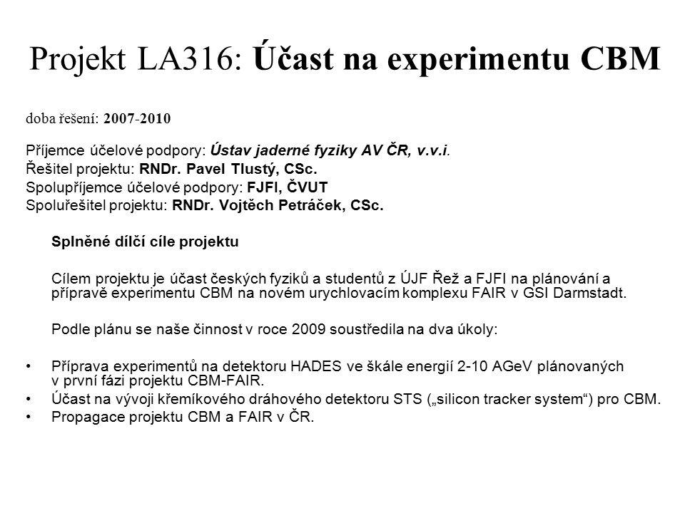 Projekt LA316: Účast na experimentu CBM doba řešení: 2007-2010 Příjemce účelové podpory: Ústav jaderné fyziky AV ČR, v.v.i.