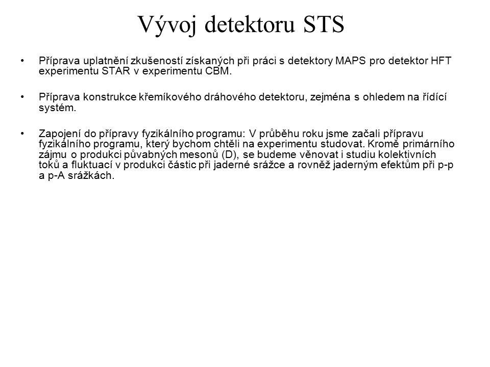 Vývoj detektoru STS Příprava uplatnění zkušeností získaných při práci s detektory MAPS pro detektor HFT experimentu STAR v experimentu CBM.