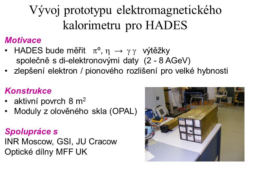 Vývoj prototypu elektromagnetického kalorimetru pro HADES Motivace HADES bude měřit  º,  →  výtěžky společně s di-elektronovými daty (2 - 8 AGeV) zlepšení elektron / pionového rozlišení pro velké hybnosti Konstrukce aktivní povrch 8 m 2 Moduly z olověného skla (OPAL) Spolupráce s INR Moscow, GSI, JU Cracow Optické dílny MFF UK