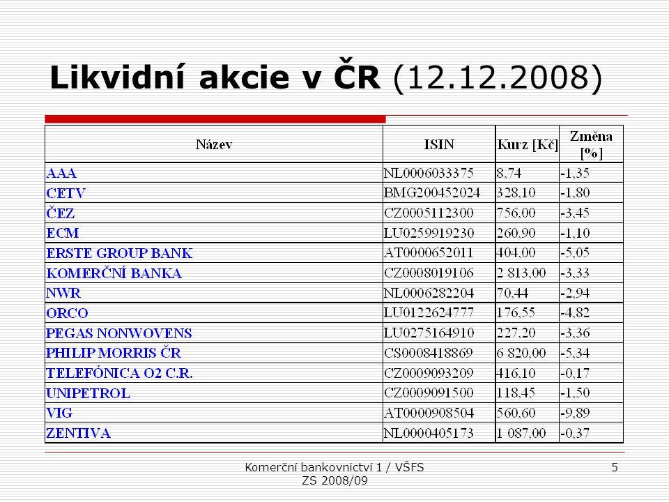 Komerční bankovnictví 1 / VŠFS ZS 2008/09 16 Deriváty podle zákona o podnikání na kapitálovém trhu  Opce na investiční nástroje  Finanční termínové smlouvy (futures, forwardy, swapy) na investiční nástroje  Rozdílové smlouvy a obdobné nástroje pro přenos úrokového nebo kurzového rizika  Nástroje umožňující přenos úvěrového rizika  Jiné investiční nástroje, ze kterých vyplývá právo na vypořádání v penězích a jejichž hodnota se odvozuje zejména z kurzu investičního CP, indexu, úrokové míry, kurzu měny nebo ceny komodity