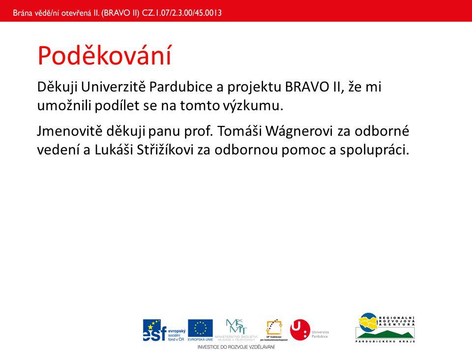 Poděkování Děkuji Univerzitě Pardubice a projektu BRAVO II, že mi umožnili podílet se na tomto výzkumu. Jmenovitě děkuji panu prof. Tomáši Wágnerovi z
