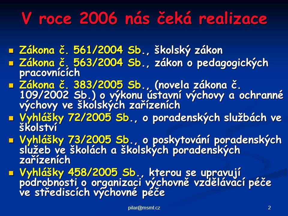 2pilar@msmt.cz V roce 2006 nás čeká realizace Zákona č.